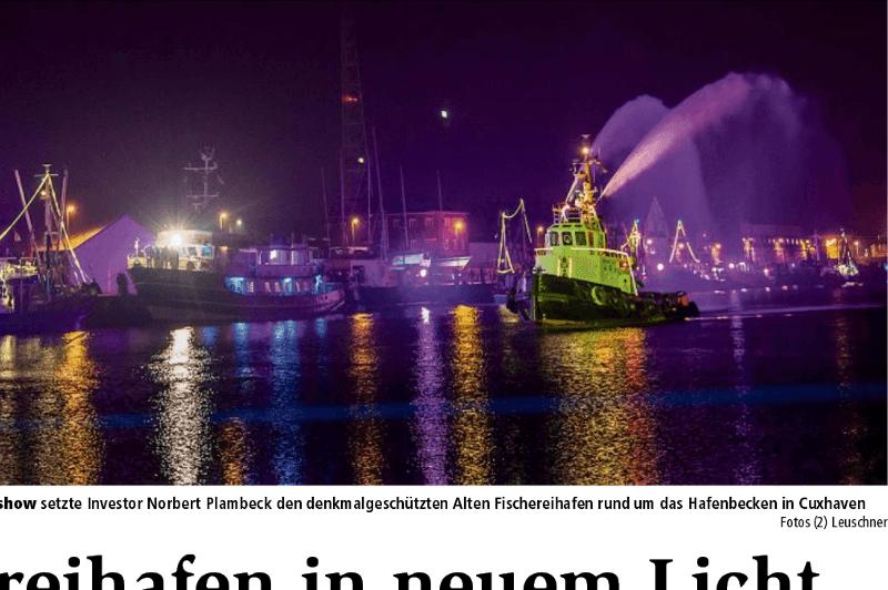 Alten Fischereihafen erleuchtet